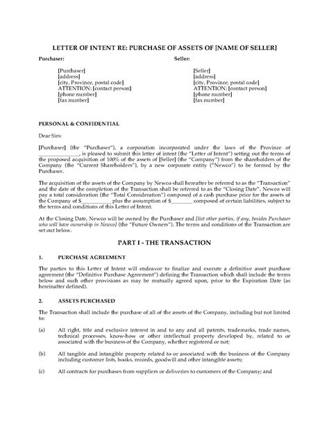Letter Of Intent Ontario Sle Canada Letter Of Intent To Purchase Business Assets Forms And Business Templates