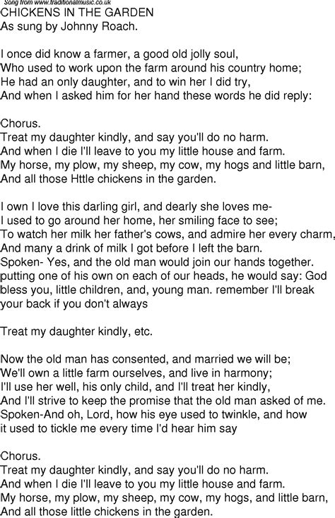 Lyrics In The Garden by Time Song Lyrics For 01 Chickens In The Garden