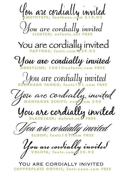 Wedding Invitation Typeface and Font Sources   Wedding