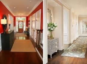Charmant Decoration De Couloir Avec Escalier #2: peinture-couloir-rouge-rose-pastel-tapis-plancher-bois.jpeg