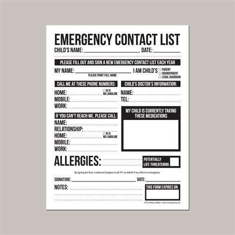 daycare emergency contact card template emergency contact form for nanny or daycare