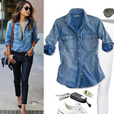 Denim Blouse retro fashion casual blue jean denim sleeve shirt tops blouse jacket ebay