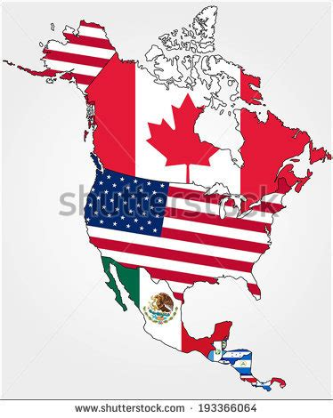 north america map with flags map states canada usa represented flag stock vector