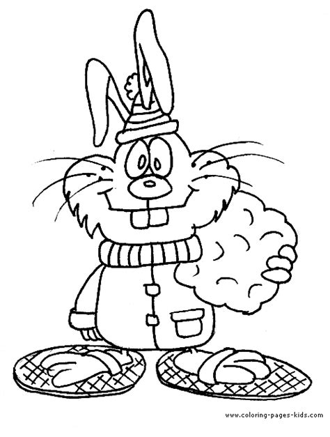 winter rabbit coloring page winter bunny coloring sheet