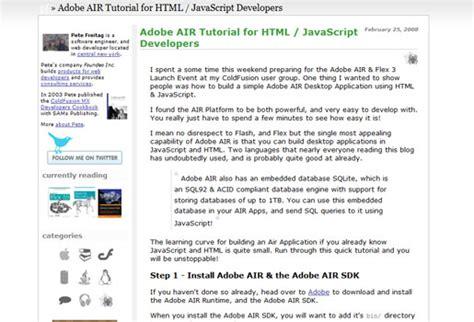 javascript tutorial adobe adobe air tutorials for web developers vandelay design