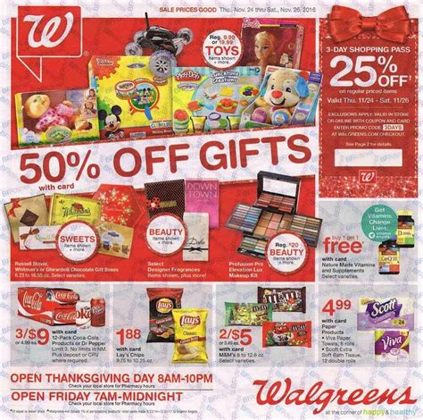 Weis Thanksgiving Hours Walgreens Black Friday Ad Scan For 2016 Ftm