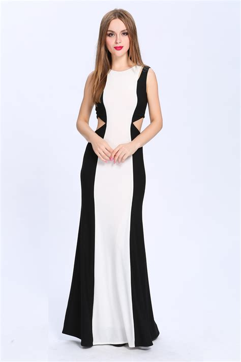 full length black and white cut out formal dress evening