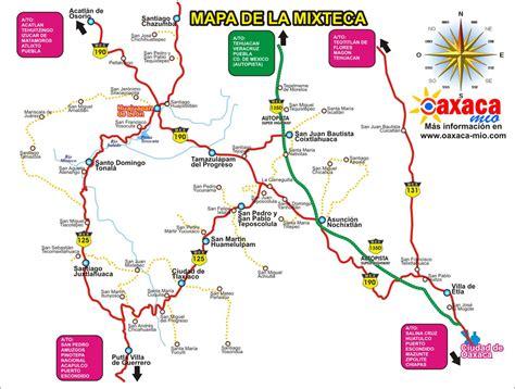 mapa de oaxaca mexico carreteras de oaxaca mapa