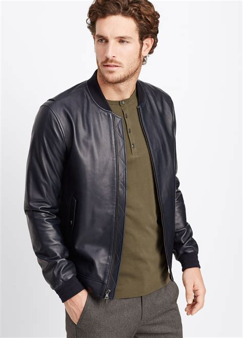 mens leather bomber vince leather bomber jacket in blue for lyst