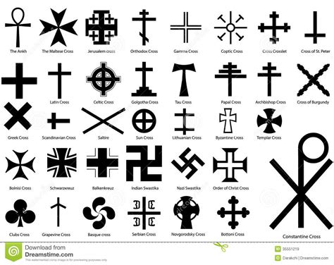 Different Sections Of Christianity by Crosses Illustration Set Stock Vector Image Of