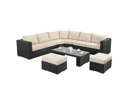 6 Seater Corner Sofa by Prestige Six Seater Corner Sofa In Black Rattan