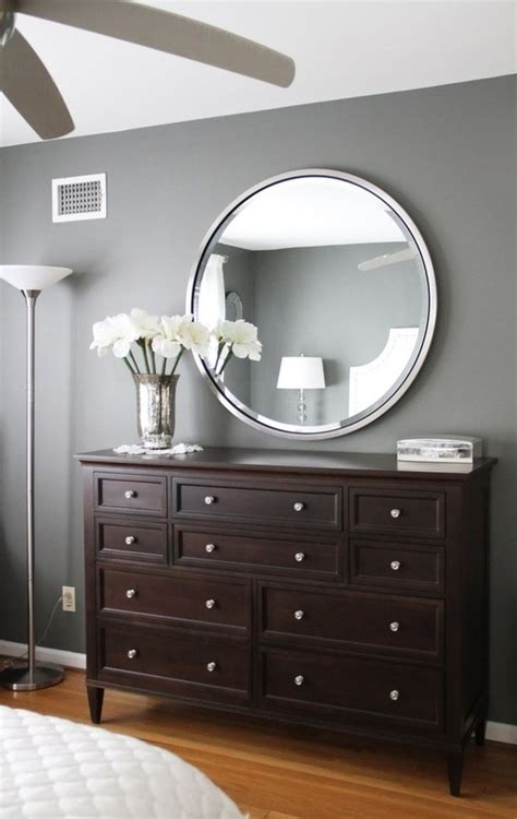 gray walls dark brown furniture bedroom paint color
