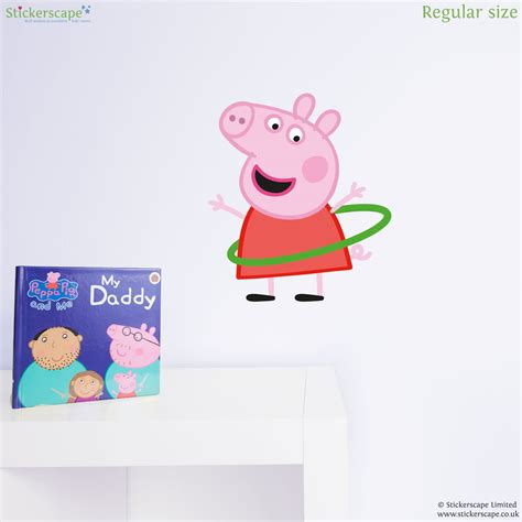 peppa pig wall stickers peppa pig with hula hoop wall sticker stickerscape uk