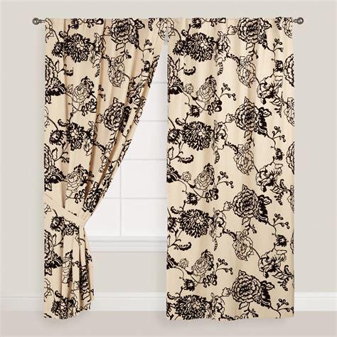 black floral curtains black flocked floral laurent curtains set of 2 world market
