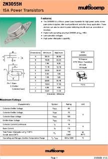 2n3055h transistor 2n3055h transistor 28 images 2n3055h datasheet specifications transistor polarity npn