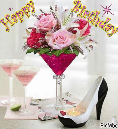 birthday martini gif birthday floral martini candle highheel picmix