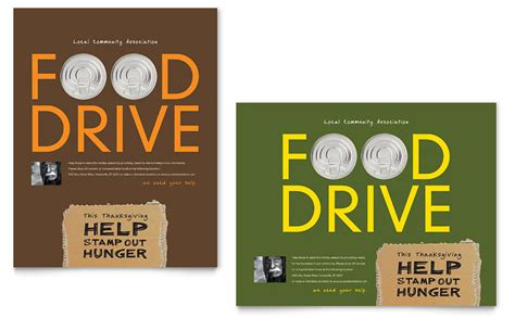 Holiday Food Drive Fundraiser Poster Template Word Publisher Drive Templates