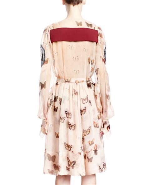 Longdress Butterfly givenchy sleeve butterfly print silk dress pink