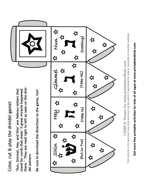 How To Make A Paper Dreidel - print and color dreidel printables for free