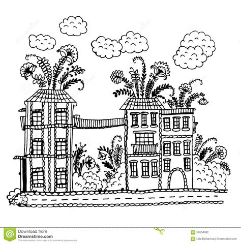 free doodle sketch vector from houses with colors on a rooftop and