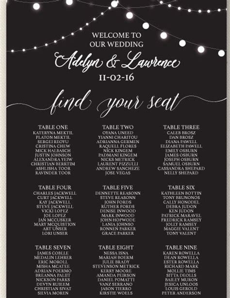 seating chart wedding template wedding seating chart template 16 exles in pdf word