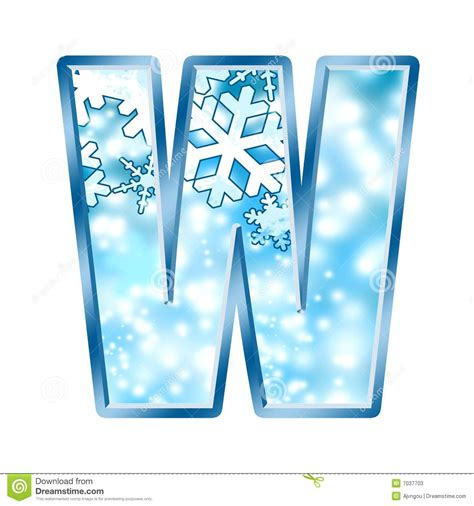 up letter with snow winter alphabet letter w stock illustration image of snow