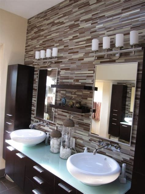 Showers Over Baths elegant contemporary backsplash contemporary bathroom