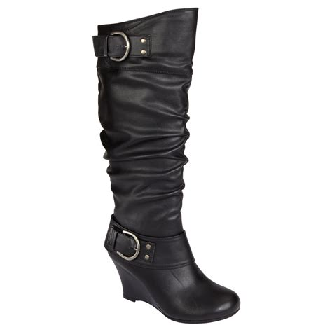 Boots Fashion Ad An 30 Wedges Hitam bongo womens erica black boot shop sears wedge boots