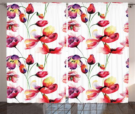 poppy home decor floral curtains 2 panels set blooming tulip poppy home