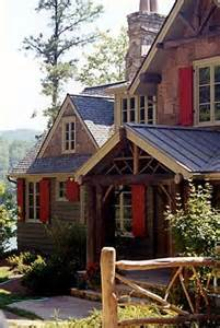 Mountain Home with Red Shutters