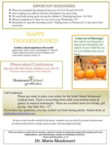 november newsletter template november newsletter montessori school of aberdeen sd