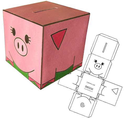 How To Make Paper Piggy Bank - decorate print and play piggy bank mashup