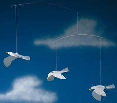 Paper Plate Seagull Craft - flensted soaring seagulls mobile