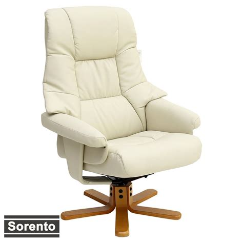 Sorento Real Leather Cream Swivel Recliner Chair W Foot Real Leather Recliner Swivel Chairs