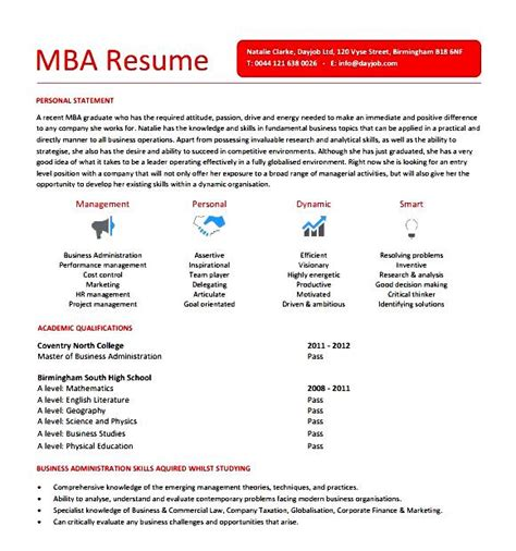 Mba Skills For Resume by Mba Resume Sle Free Sles Exles Format