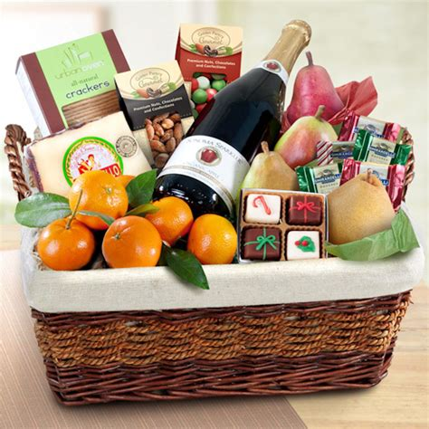 grand holiday cider and fruit gift basket gift baskets