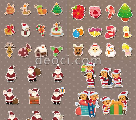 Free Vector Cute Cartoon Christmas Elements Sticker Design Template Illustrator Eps File Deoci Adobe Illustrator Sticker Template