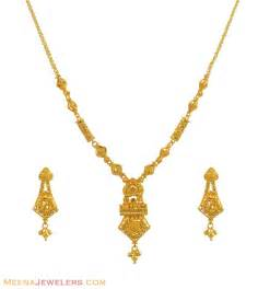 22k gold necklace set stls10938 22k gold necklace and earrings