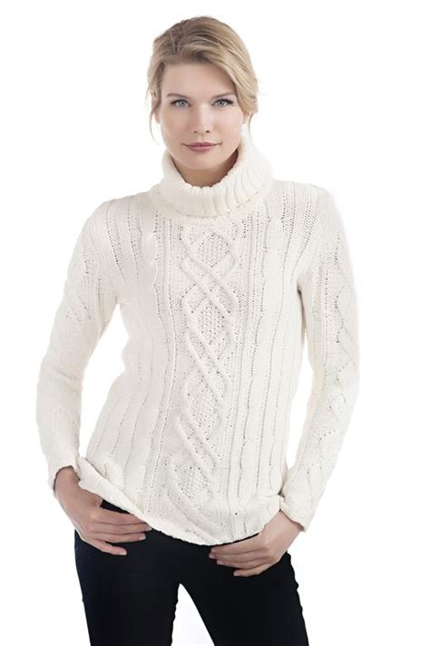 Sweater Rajut Cable Saku Series Knitted Sweater Winter Sweater ivory cable knit turtleneck sweater womens faux fur