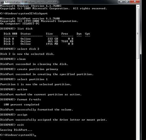 diskpart format usb bootable crear un usb bootable de windows 7 islabit