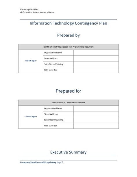 information technology templates information technology contingency plan template