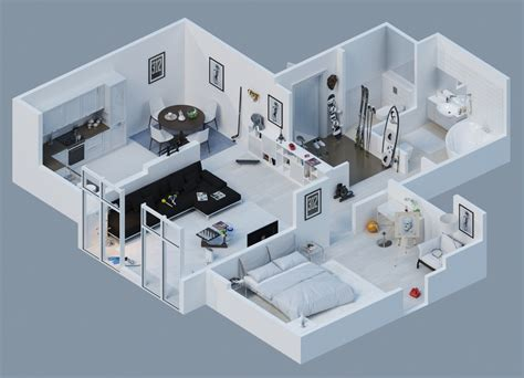 Apartment Designs Shown With Rendered 3d Floor Plans Home Design Apartment