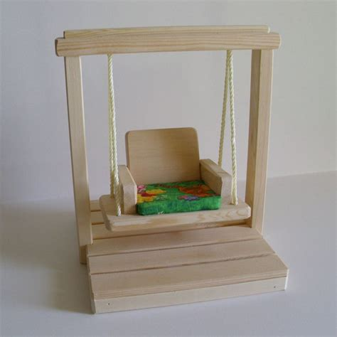 doll swing set wooden doll swing set doll house accessories natural