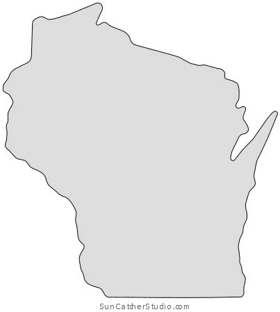 wisconsin map outline printable state shape stencil