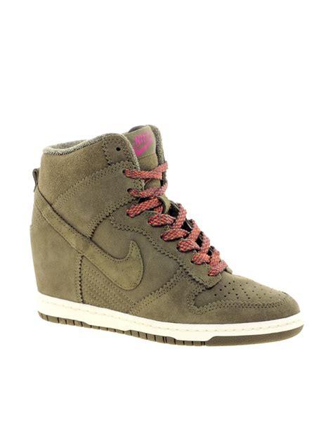nike sky high sneakers nike nike dunk sky high olive wedge sneakers at asos