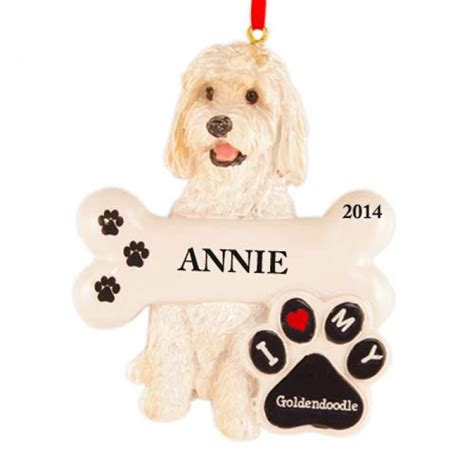 golden doodle dog personalized christmas ornament