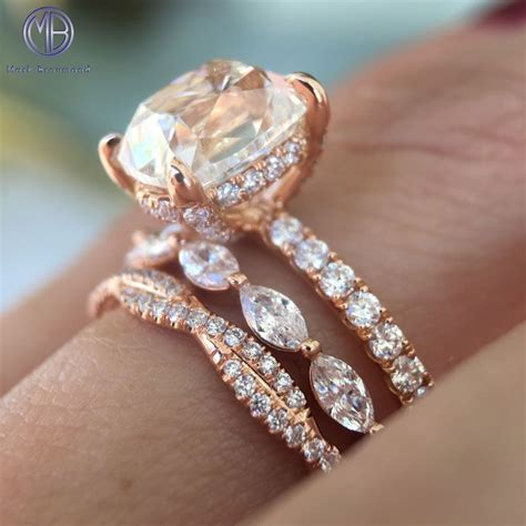 rose gold ring stack     dream wedding