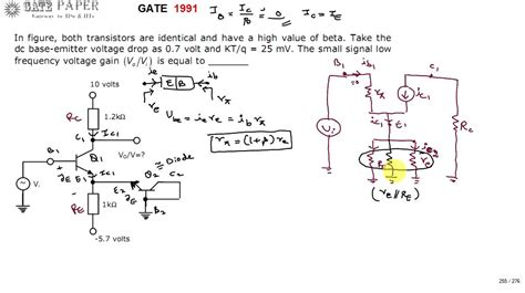 bipolar transistor voltage gain gate 1991 ece small signal voltage gain of given bjt lifier circuit