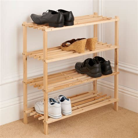 wood shoe rack 4 tier wooden shoe rack storage shelving b m