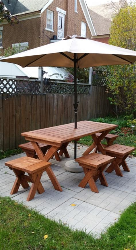 how to make picnic bench reader showcase chesapeake picnic table and modified bench stools the design confidential